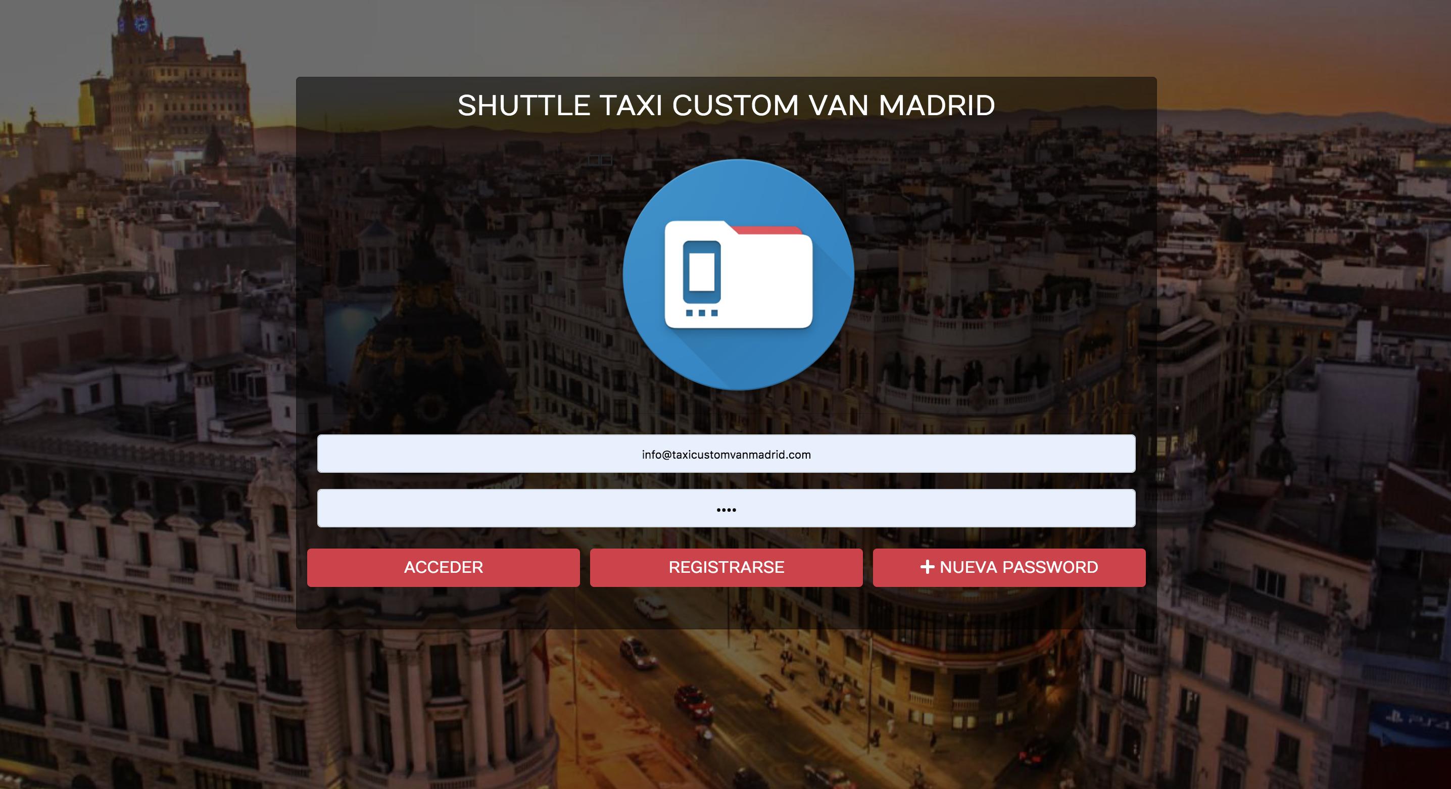 imagen del login para reservar shuttle lanzadera de custom van info